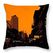 Hot Nights On Bourbon Street Throw Pillow