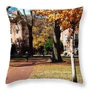 Hot Pink Hoodie - Davidson College Throw Pillow