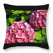 Hot Pink Hydrangea Throw Pillow