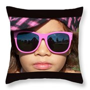 Hot Pink Sunglasses Throw Pillow