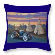 Hot Rod At The Wigwams Throw Pillow