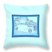 Hot Rod Digi Sketch Throw Pillow