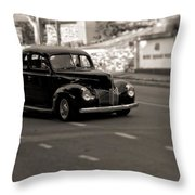 Hot Rod On The Street Throw Pillow