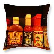 Hot Sauce Display Shelf Three Throw Pillow