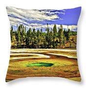 Prismatic Geyser Yellowstone National Park Throw Pillow