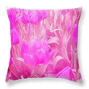 Hot Stuff   In Your Face Pink Tulips Throw Pillow