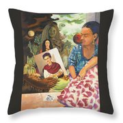 Hot Ticket Frida Kahlo Meta Portrait Throw Pillow