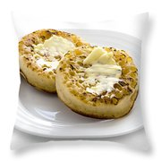 Hot Toasted Crumpets With Butter Throw Pillow