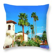 Hotel California Palm Springs Throw Pillow