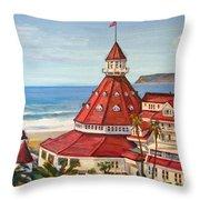 Hotel Del Coronado From Above Throw Pillow