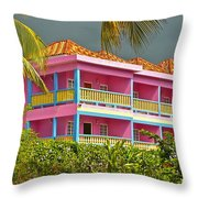 Hotel Jamaica Throw Pillow by Linda Bianic