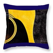 Hour Glass Guitar 4 Colors 1 - Tetraptych - Yellow Corner - Music - Abstract Throw Pillow