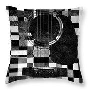 Hour Glass Guitar Random Bw Squares Throw Pillow