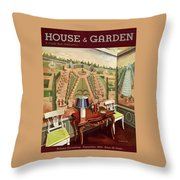 House & Garden Cover Illustration Of 18th Century Throw Pillow