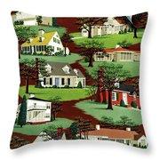 House & Garden Cover Illustration Of 9 Houses Throw Pillow