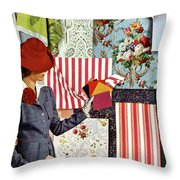 House & Garden Cover Illustration Of A Woman Throw Pillow