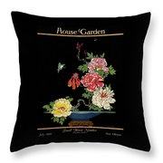 House & Garden Cover Illustration Of Peonies Throw Pillow