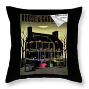 House And Garden Cover Illustration Of The Internal Throw Pillow