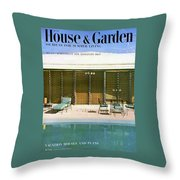 House & Garden Cover Of A Swimming Pool At Miami Throw Pillow