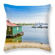 House And Boats On The River Throw Pillow