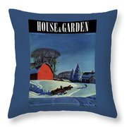 House And Garden Christmas Decoration Cover Throw Pillow