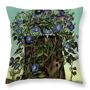 House And Garden Cover Featuring Flowers Growing Throw Pillow