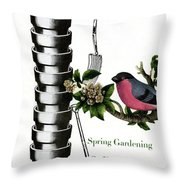 House And Garden Cover Featuring Pots And A Bird Throw Pillow