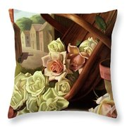 House And Garden Cover Of An Upturned Basket Throw Pillow