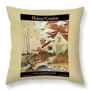 House And Garden Fall Planting Guide Throw Pillow