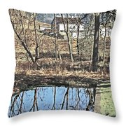 House And The Reflecting Pool Throw Pillow