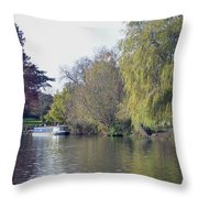 House Boat On River Avon Throw Pillow