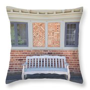 House Brick Exterior With Wood Bench Throw Pillow