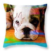 House Broken Bulldog Puppy Throw Pillow