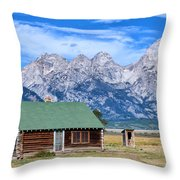 House By The Tetons Throw Pillow