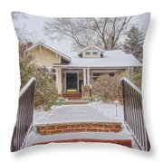 House During Winter Snowfall At Sayen Gardens Throw Pillow