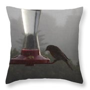House Finch In The Fog Throw Pillow