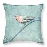 House Finch With Colored Sketch Effect Throw Pillow