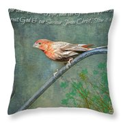 House Finch With Verse Throw Pillow