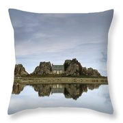 House In Between Rocks Reflected Throw Pillow