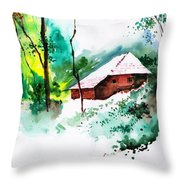 House In Greens 1 Throw Pillow