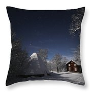 House In Moonlight Throw Pillow