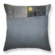 House In Snow With Lamp Throw Pillow