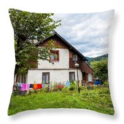 House In The Capathians Village Throw Pillow