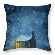 House In Woodland In Winter Throw Pillow