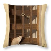 house keeper - A guardian cat is the best way to secure your home Throw Pillow