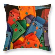 House Of Cards Throw Pillow by Lisa Bentley