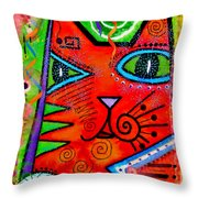 House Of Cats Series - Bops Throw Pillow by Moon Stumpp