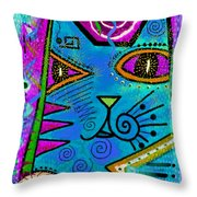 House Of Cats Series - Dots Throw Pillow by Moon Stumpp