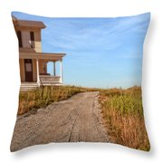 House On Rural Dirt Road Throw Pillow