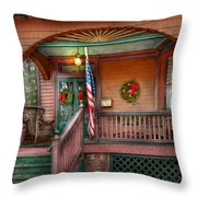 House - Porch - Metuchen Nj - That Yule Tide Spirit Throw Pillow by Mike Savad